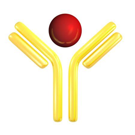 golden antibody symbol with antigen for pharmacy related design Stock Photo - 4885773