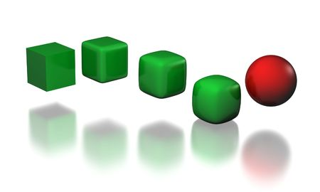 five stages of cube to sphere trqansformation Stock Photo - 4961014