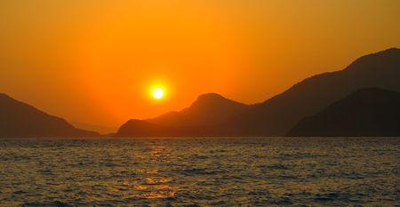 oludeniz: sunset in mediterranean, Turkey, Oludeniz