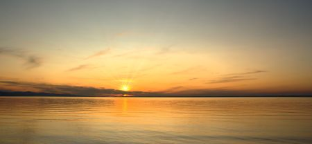 the sunset in the South part of Baykal lake photo