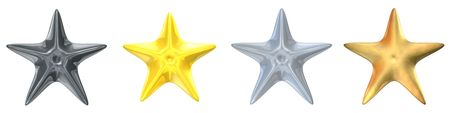 platinum metal: 3d rendered platinum, gold, silver and brass stars