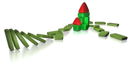 3d rendered toy house resisted domino effect Banco de Imagens - 5598623