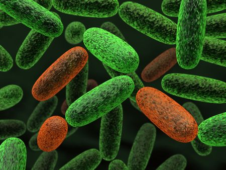 microorganism: 3d rendered green and red bacteria illustration Stock Photo