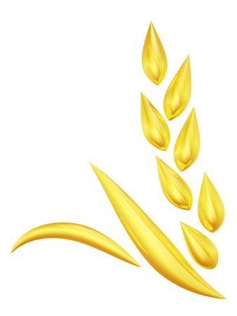 wheat isolated: 3d rendered golden wheat spike symbol Stock Photo