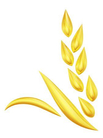 símbolo de espiga de trigo oro procesada 3D