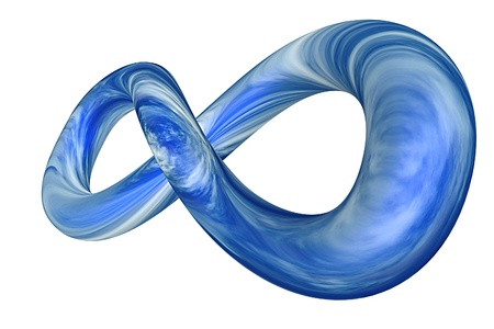 3d rendered infinity symbol with sky texture