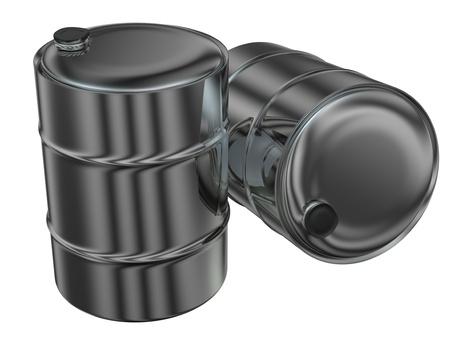 toxic barrels: two 3d rendered metal barrels