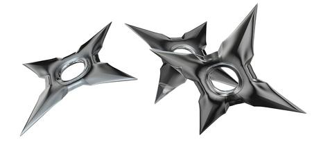 japanese ninja: 3d rendered shuriken ninja weapon