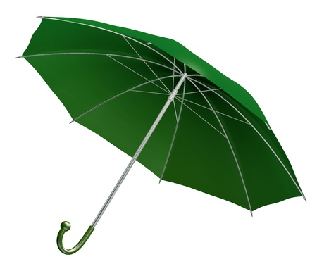 3d rendered green umbrella isolated on white