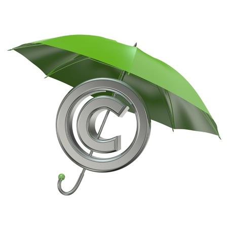 intellect: concetto di protezione del copyright rendering 3D con ombrellone verde