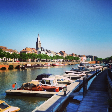 belgie: Nice little harbor in the center of Ghent Stock Photo