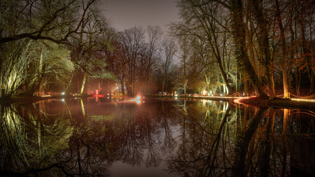illuminated magic forrest reflections on the water