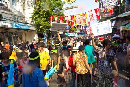 KHAO SAN ROAD, BANGKOK - 2012 APRIL 13: View of people in Khao San Road selling beer