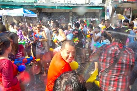 KHAO SAN ROAD, BANGKOK - 2012 APRIL 13: Battle of water gun 2