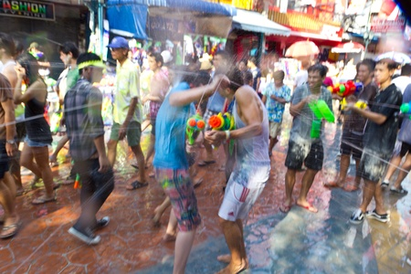 KHAO SAN ROAD, BANGKOK - 2012 APRIL 13: Target of shooting water 5