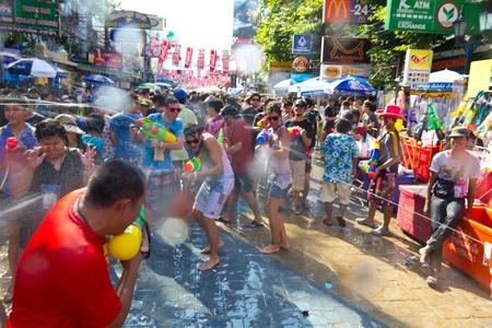 KHAO SAN ROAD, BANGKOK - 2012 APRIL 13: Target of shooting water 8 Editorial
