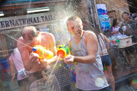 KHAO SAN ROAD, BANGKOK - 2012 APRIL 13: Foreigner in Songkran Festival 5