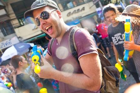 foreigner: BANGKOK - 2012 APRIL 13: Foreigner in Songkran Festival 4