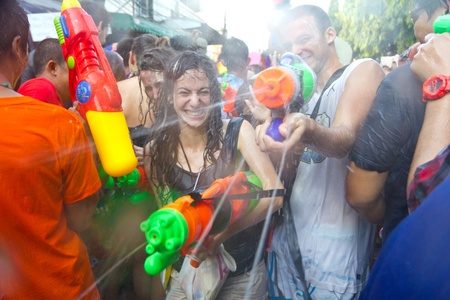 KHAO SAN ROAD, BANGKOK - 2012 APRIL 13: Battle of water gun 6