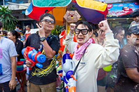 KHAO SAN ROAD, BANGKOK - 2012 APRIL 13: Foreigner in Songkran Festival 6