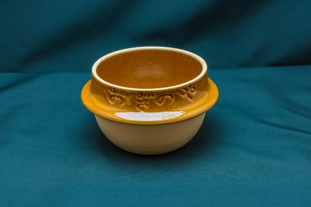 Japanese clay bowl in front view
