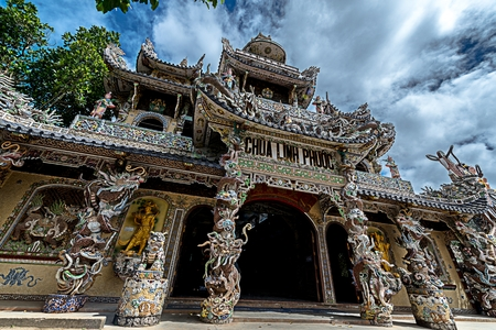 Famous Chinese temple in Vietnam Stock Photo