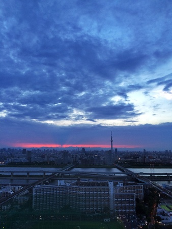 Sunset with Tokyo Sky Tree Stock Photo