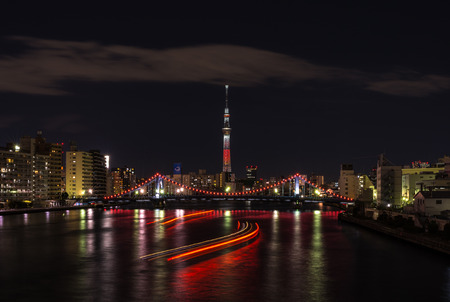Night View of Tokyo Sky Tree when it was turned into red