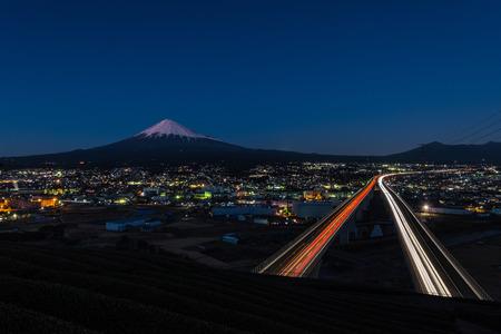 Mt. Fuji with Tomei highway in Shizuoka prefecture