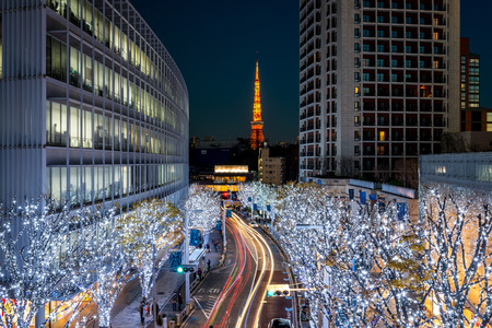 Tokyo Tower with Christmas illumination at Roppongi