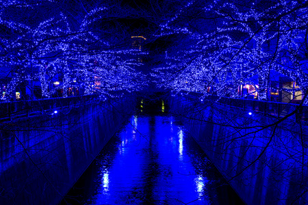 Nakameguro Cave of the blue in Christmas period Stock Photo