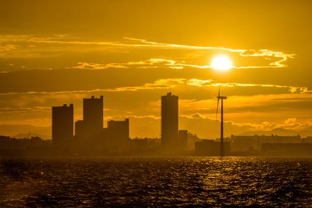Silhouette view of Yokohama city with sunset Stock Photo