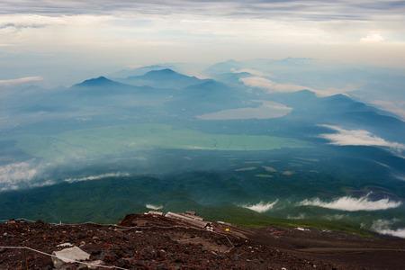 View Yamanaka lake and Mt. Fuji climbing trail from top of Mt. Fuji