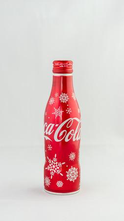 Tokyo, Japan - December 23, 2015: 2015 Winter Limited Aluminium Bottle Design from Coca Cola Japan.