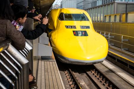 TOKYO, Japan - DEC 6, 2015: Doctor Yellow, a special Shinkansen at Tokyo station