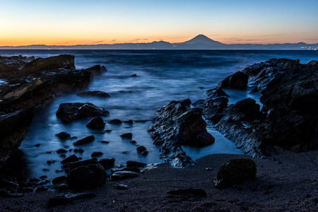 A sunset moment of Mt. Fuji with Miura coastline in Yokosuka