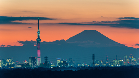 lightup: CHIBA, Japan - DEC 18, 2015: Kylo Ren light-up of Tokyo Skytree with Mt. Fuji
