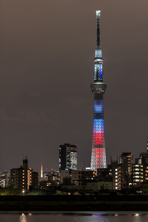 lightup: TOKYO, Japan - DEC 17, 2015: Battle of light and darkness light-up of Tokyo Skytree with Tokyo Skytree