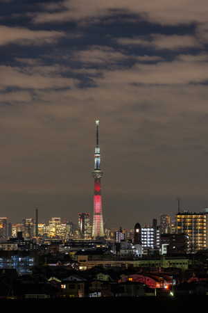 lightup: CHIBA, Japan - DEC 18, 2015: Kylo Ren light-up of Tokyo Skytree
