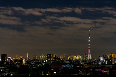 lightup: CHIBA, Japan - DEC 18, 2015: Battle of light and darkness light-up of Tokyo Skytree and Tokyo Tower