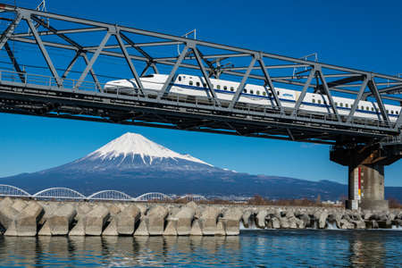 fast train: Mt. Fuji and Japanese train, Shinkansen