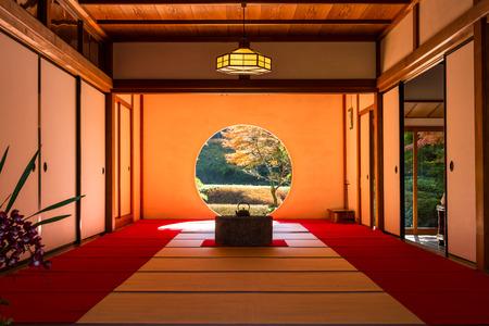 KANAGAWA, Japan - DEC 5, 2015: A interior view of Japanese tearoom in Autumn Redactioneel