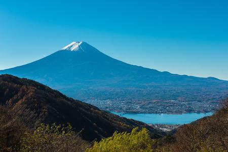 Mt. Fuji with triangle flip Stock Photo