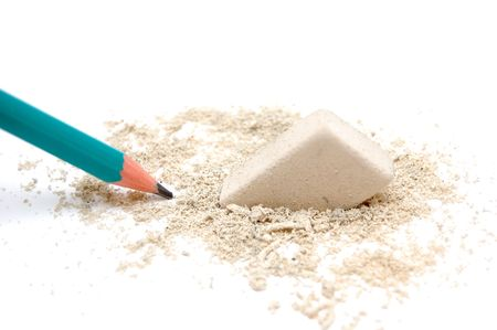 Pencil and eraser with shavings Stock Photo