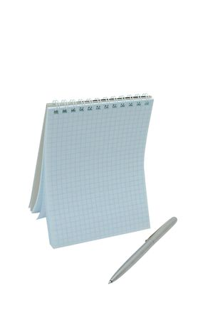 Open day planner with pen isolaned on a white
