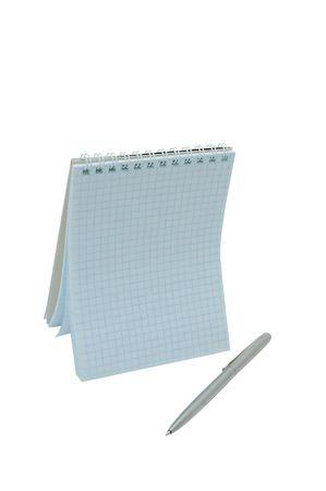 Pianificatore di open day con penna isolaned su un bianco