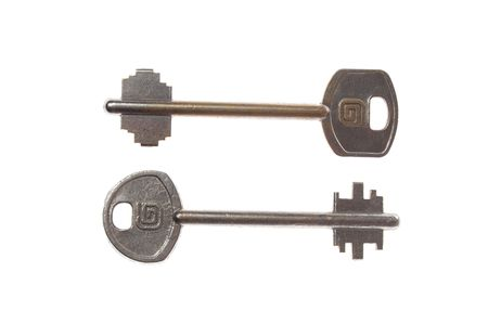 two steel key isolated on a white Stock Photo - 3832530