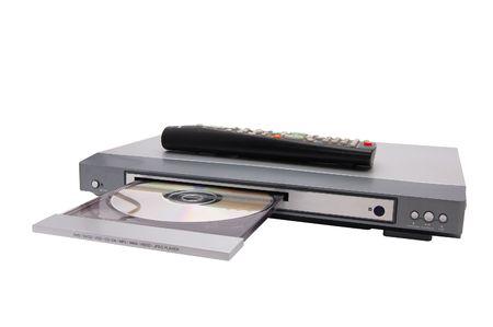 dvd cd mp3 player isolati su bianco Archivio Fotografico