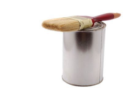 Can of paint with brush isolated on white Stock Photo