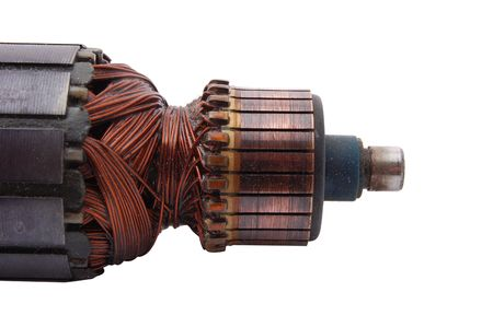 Electric motor rotor isolated on white Stock Photo